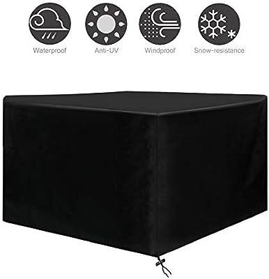 Osarke Funda para Mesa Jardin Fundas Muebles Exterior Impermeable 420D Oxford Muebles de Jardin Cubierta Protectora Anti-UV 120 X 120 X 74cm: Amazon.es: Hogar