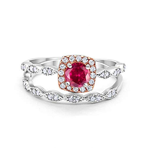Blue Apple Co. Art Deco Bridal Set Ring Band Halo Simulated Ruby Two Tone 925 Sterling Silver, Size-10 ()
