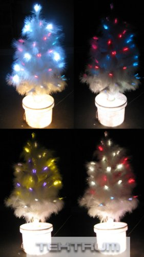 "Tektrum 23"" White Feather Color Changing Fiber Optic Lights Tree With White LEDs For Christmas/Holiday/Party"