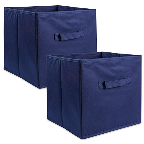 DII Fabric Storage Bins for Nursery, Offices, & Home Organization, Containers Are Made To Fit Standard Cube Organizers (11x11x11″) Nautical Blue – Set of 2