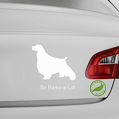 Custom Name English Springer Spaniel Dog Decal Sticker Customizable Text (White, 13 inch)