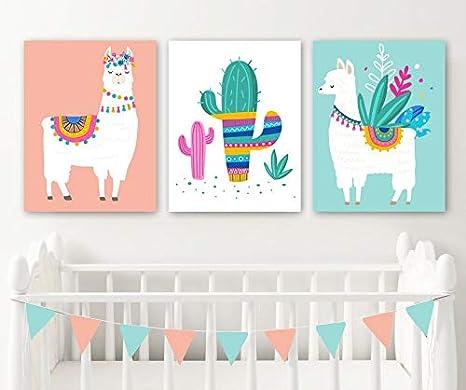 Amazon.com: Llama Nursery Wall Decor Llama Girl Bedroom Wall Art ...