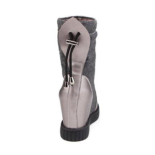 AllhqFashion Damen Gemischte Farbe Flaum Futter Hoher Absatz Rund Zehe Ziehen auf Stiefel Grau