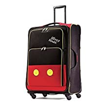 American Tourister Disney Mickey All Ages Soft Side Spinner, Mickey Mouse Pants, Checked – Large