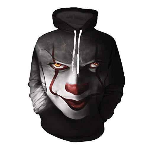 Penpell Unisex Halloween 3D Print Pullover Hoodies Horror Movie Clown Casual Sweatshirt (#3, L) -