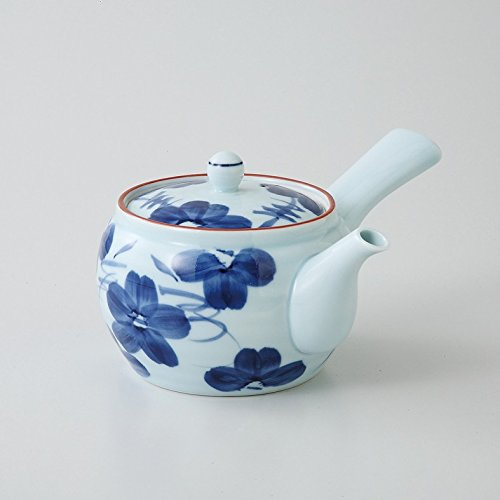 Saikai pottery Kyusu (Medium teapot) Blue Flower pattern 99335 from Japan