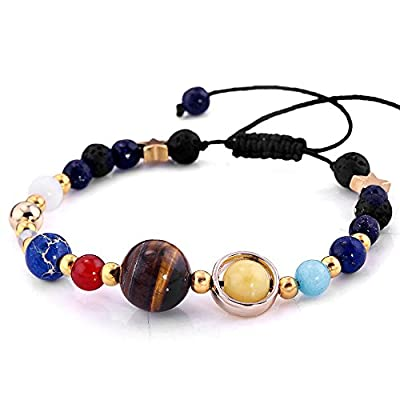 YEYULIN Handmade Galaxy Solar System Bracelet Universe Nine Planets Star Natural Stone Beads Bracelets Bangles