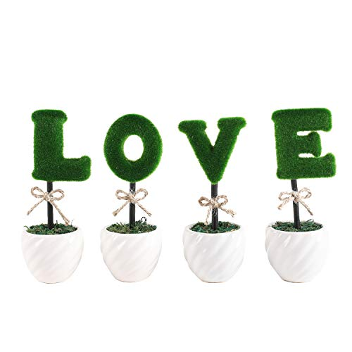 Liry Products Love Letters Decoration White Ceramic Pots Artificial Plants Topiary Set of 4 Faux Bush Planters Tabletop Hedge Sculptures Valentine's Day Wedding Party Home Office Garden Rustic Modern