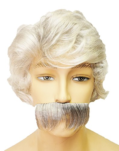 [UHC Mark Twain Wig Moustache Old Man Funny Theme Halloween Costume Accessory] (Old Wigs)