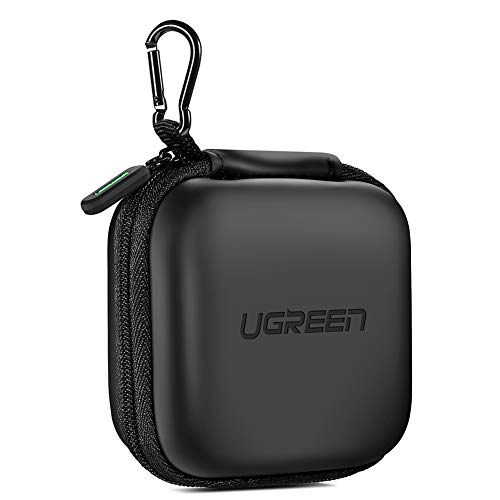 UGREEN Earbud Case Earphone Carrying Case Holder Storage Bag Headphone Mini Pouch Compatible for Wireless Beats Bose Earbuds, Airpods, Bluetooth Headset, Wall Charger USB Adapter Cable with Carabiner (Headset Ear Inner)