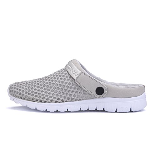 QLVY Men and Women's Summer Breathable Mesh Sandals,Durable Slippers,Beach Footwear,Garden Clog Shoes Grey