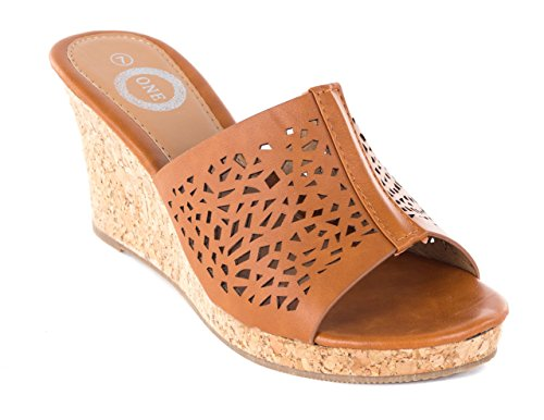 ONE Women Camel Open Toes Perforated Wedge Sandals, 8