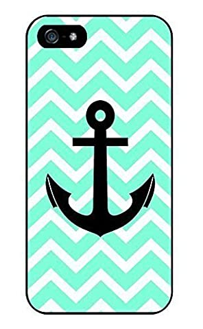 Mint Green Chevron Anchor Cute Fashion Slim Thin Protective Glossy Silicone TPU Gel Skin Back Shell Case Cover for iPhone 5 (Nokia 6233 Case)