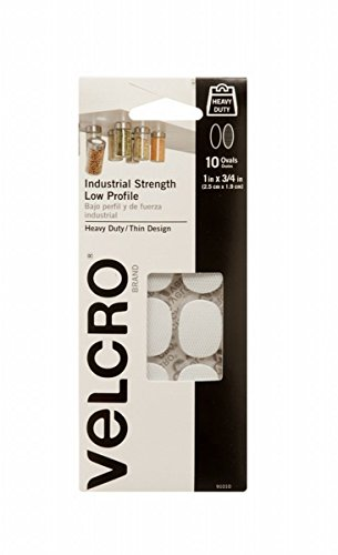 (Velcro 91010 2 Pack 1in. x 3/4in. 10 Pc. Industrial Strength Low Profile Spot, White)