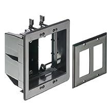 Arlington TVBU505BL-1 TV Box Recessed Outlet Wall Plate Kit, 2-Gang, Black, 1-Pack