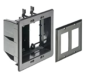 Arlington TVBU505BL-1 TV Box Recessed Outlet Wall Plate Kit, 2-Gang, Black, 1-Pack