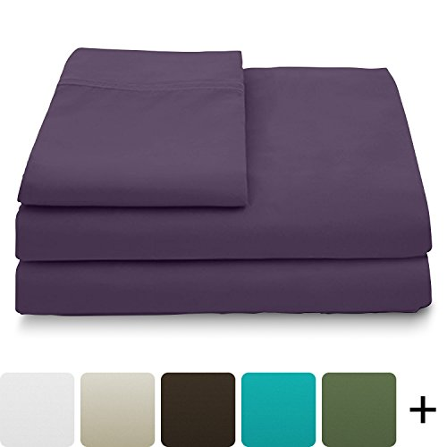 Cosy House Collection Luxury Bamboo Sheets - 4 Piece Bedding Set - High Blend From Organic Bamboo Fiber - Soft Wrinkle Free Fabric - 1 Fitted Sheet, 1 Flat, 2 Pillow Cases - Cal King, Purple