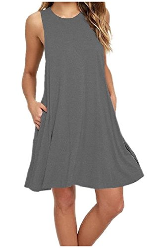 Dresses Sleeveless Crewneck Casual Women Solid Coolred Vest Summer Gray Top xFHqS6wnAw