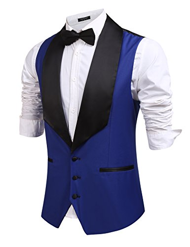 Coofandy Mens V-neck Sleeveless Dress Suit Slim Fit