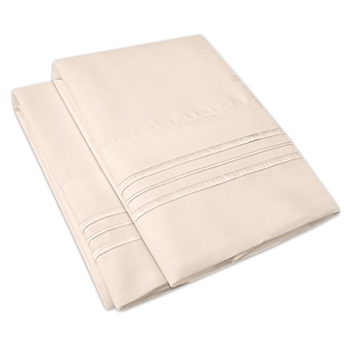 1500 Supreme Collection 2 Pack Bed Pillow Cases - Luxury Embroidered Premium Softness and Wrinkle Resistant Breathable Additional Pillowcases For Bed Sheets - 12 Colors - Standard, Beige