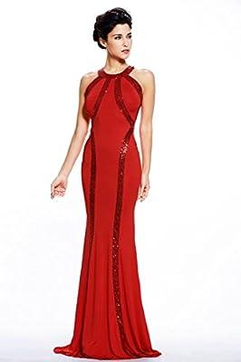 Montrimori Montmo Women's Gorgeous Jersey Sequin Trim Evening Dress Long Gown