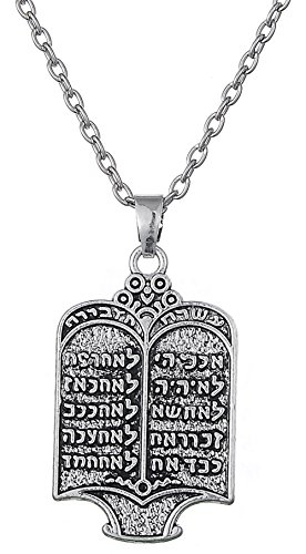 10 Commandments Hebrew Necklace Judiaca Messianic Jewish Yeshua Symbol Pendant Jewelry for Mens Women