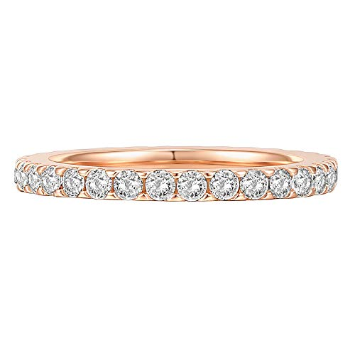 PAVOI 14K Gold Plated Rings Oval Cubic Zirconia Love Ring Gold Rings for Women 5mm Stackable Rings for Women