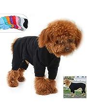 Lovelonglong Four Feet Dog Lightweight Pajamas, Pure Cotton Dog Jumpsuits 4 Legs Dog Onesies T-Shirt Stylish PJS Puppy Costume for Large Medium Small Dogs Black L