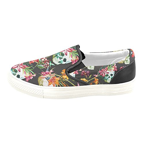D-story Custom Flower And Skull Womens Canvas Shoes Moda Scarpe Sneaker Multi1