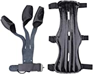 KRATARC Archery Arm Guard with 3 Finger Glove Set Adjustable Protective 3-Strap Accessory Lightweight Hunting