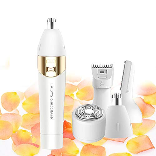 Facial Hair Removal for Women Devices Bikini Nose Hair Trimmer for Ear Face Razors for Legs Electric Eyebrow Razor for Womens Face Shaver Peach Fuzz Ladies Facial Hair Shaver for Pubic Hair 4 IN 1