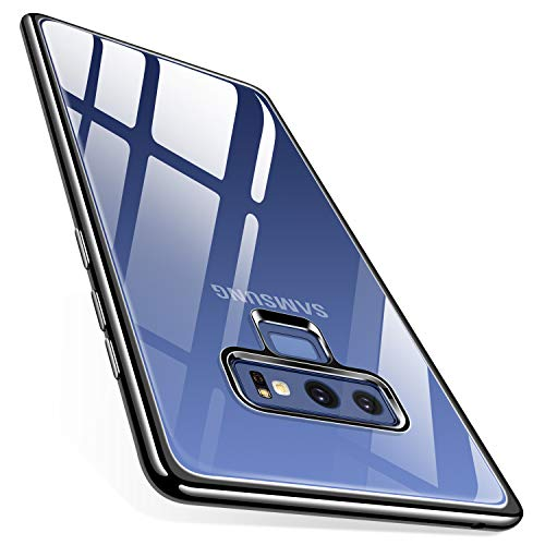 TORRAS Galaxy Note 9 Case, Crystal Clear Ultra Thin Slim Fit Soft TPU Gel Case Cover with Electroplated Frame Compatible with Samsung Galaxy Note 9(2018), Clear Back/Black Frame