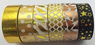 Washi tape 6 rolls Gold