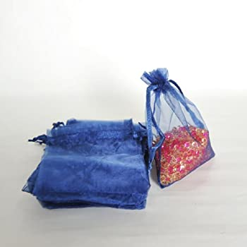 """3.9""""X6.3"""" Sheer Organza Jewelry Pouches Wedding Party Favor Gift Bags, Navy Blue-50pcs"""