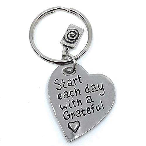 Lead Free Pewter Heart - Start Each Day with a Grateful Heart Lead Free Pewter Key Ring Charm Gift Box