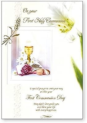 Primera Comunión tarjeta de felicitación - oro cáliz, lirios ...