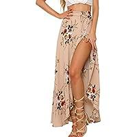simplEE Prendas de vestir Boho de la mujer floral impresión de alta cintura verano Bech Wrap Maxi Falda Cover Up