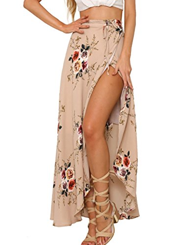 Simplee Apparel Women's Boho Floral Print High Waist Summer Bech Wrap Maxi Skirt Cover Up Pink