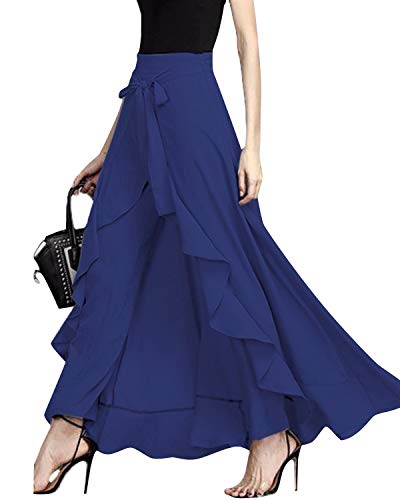 Marilyn Suit - GIKING Women Ruffle Pants Full Length Split High Waist Retro Maxi Long Skirt Blue XL
