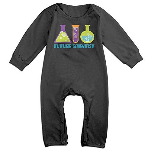 Arromper Future Scientist Boy's & Girl's Long Sleeve Romper Bodysuit Outfits Black 6 M