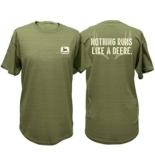 John Deere Western Shirt Mens S/S Antlers XL Gray Green 13281799