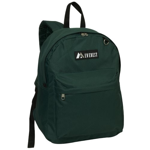 Everest Luggage Classic Backpack, Dark Green, Large - Back Green