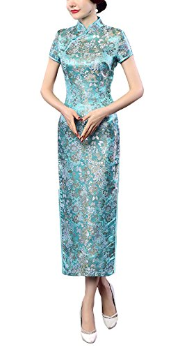 ACVIP Women's Brocade Chinese Wedding Side-split Long Dress 8 Colors (10, blue)