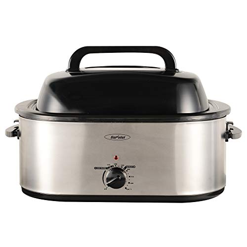 Sunvivi Roaster Oven with Red Light, 20 Quart, Stainless Steel