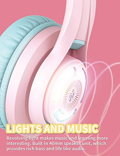 iClever BTH13 Kids Headphones, Cat Ear LED Light Up Kids Wireless Headphones with Volume Limited (74/85/94dB), 45H Playtime, Children Headphones with Microphone Over Ear for School/Tablet/PC, Pink