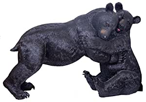 K90168 Two Black Bears Playing Statue Extra Large 38 Inches Long