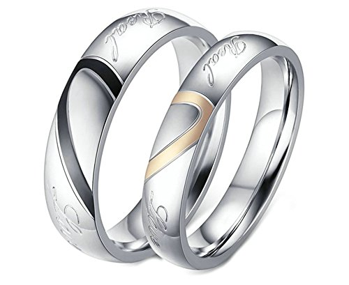 EoCot Stainless Steel 1 Pair Heart Matching Couples, used for sale  Delivered anywhere in Canada