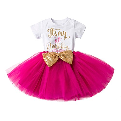 - Newborn Baby Girl Princess Its My 1st/2nd Birthday Party Cake Smash Shinny Sequin Bow Tie Tulle Tutu Dress Outfit, Rose (1 Year), One Size