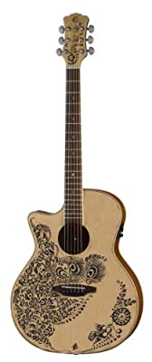 Luna Henna Oasis Select Spruce Acoustic/Electric Guitar, Open Pore Natural