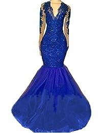 Womens Gold Lace Mermaid Spaghetti Strap Organza Evening Prom Dress